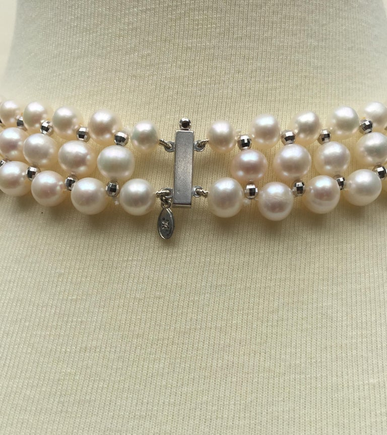 Artist Marina J Woven Pearl Necklace with 14 K White Gold Faceted Beads and Clasp For Sale