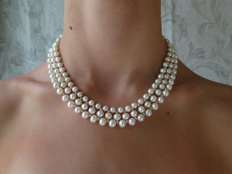 Marina J Woven Pearl Necklace with 14 K White Gold Faceted Beads and Clasp In New Condition For Sale In Beverly Hills, CA