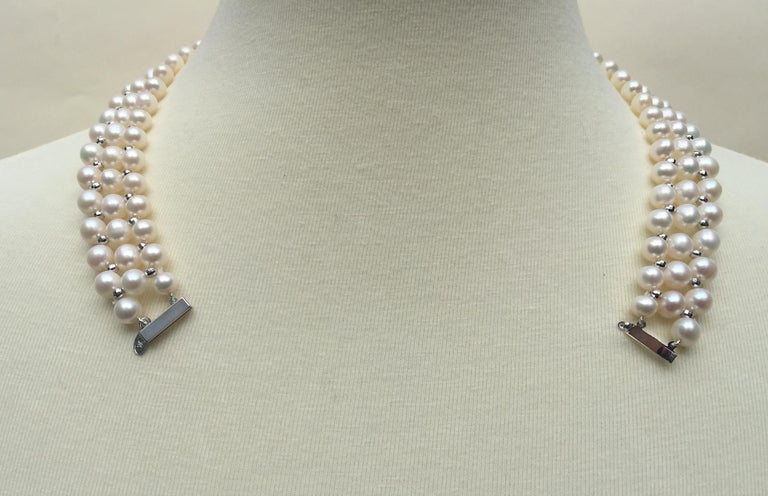Marina J Woven Pearl Necklace with 14 K White Gold Faceted Beads and Clasp For Sale 1