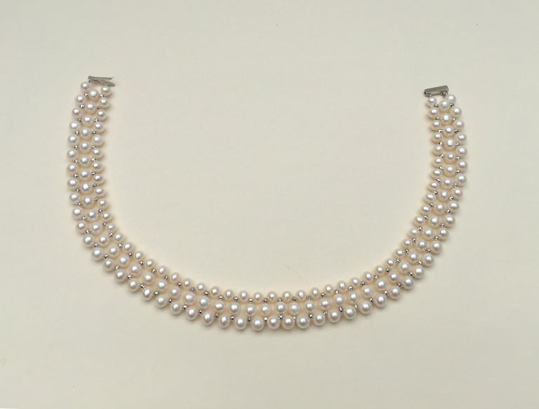 Marina J Woven Pearl Necklace with 14 K White Gold Faceted Beads and Clasp For Sale 2