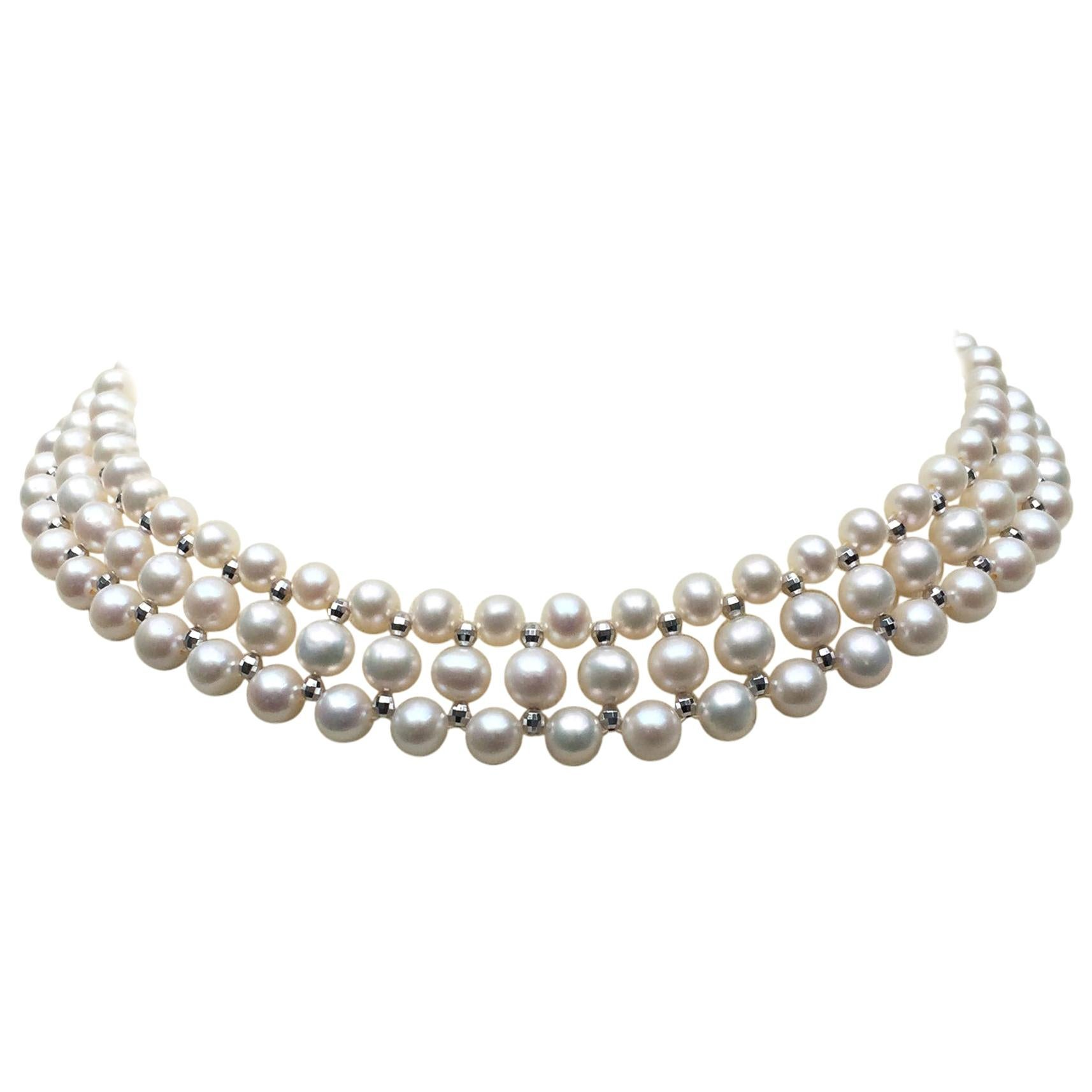 Marina J Woven Pearl Necklace with 14 K White Gold Faceted Beads and Clasp