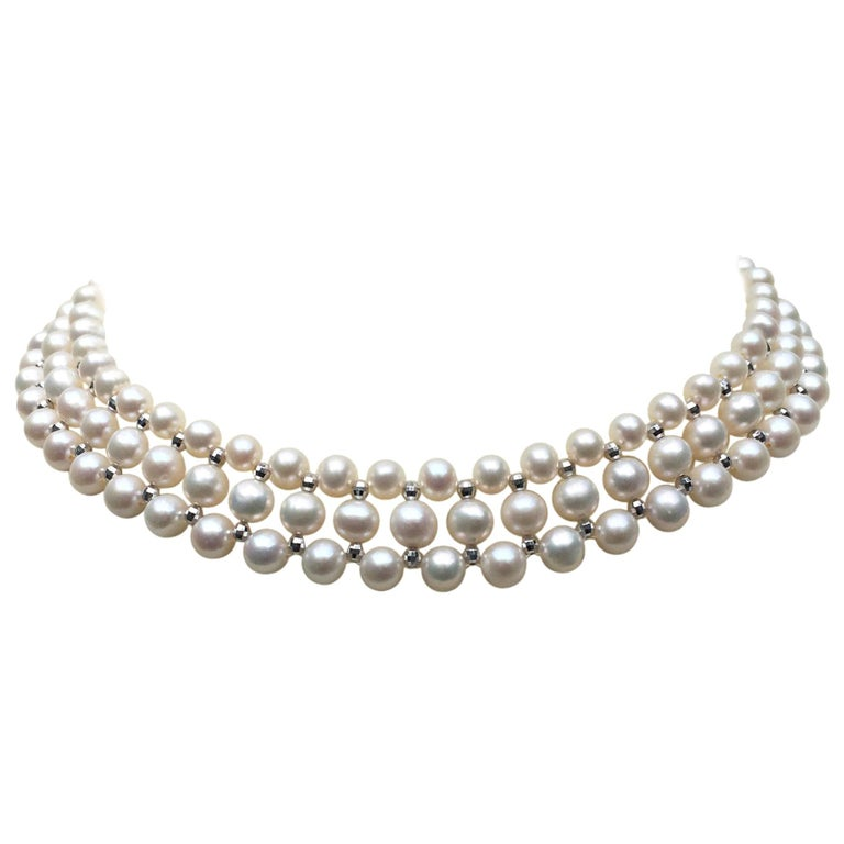 Marina J Woven Pearl Necklace with 14 K White Gold Faceted Beads and Clasp For Sale