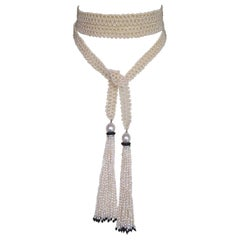 Marina J Woven Pearl Sautoir Necklace with Pearl, Onyx and Diamond Tassels