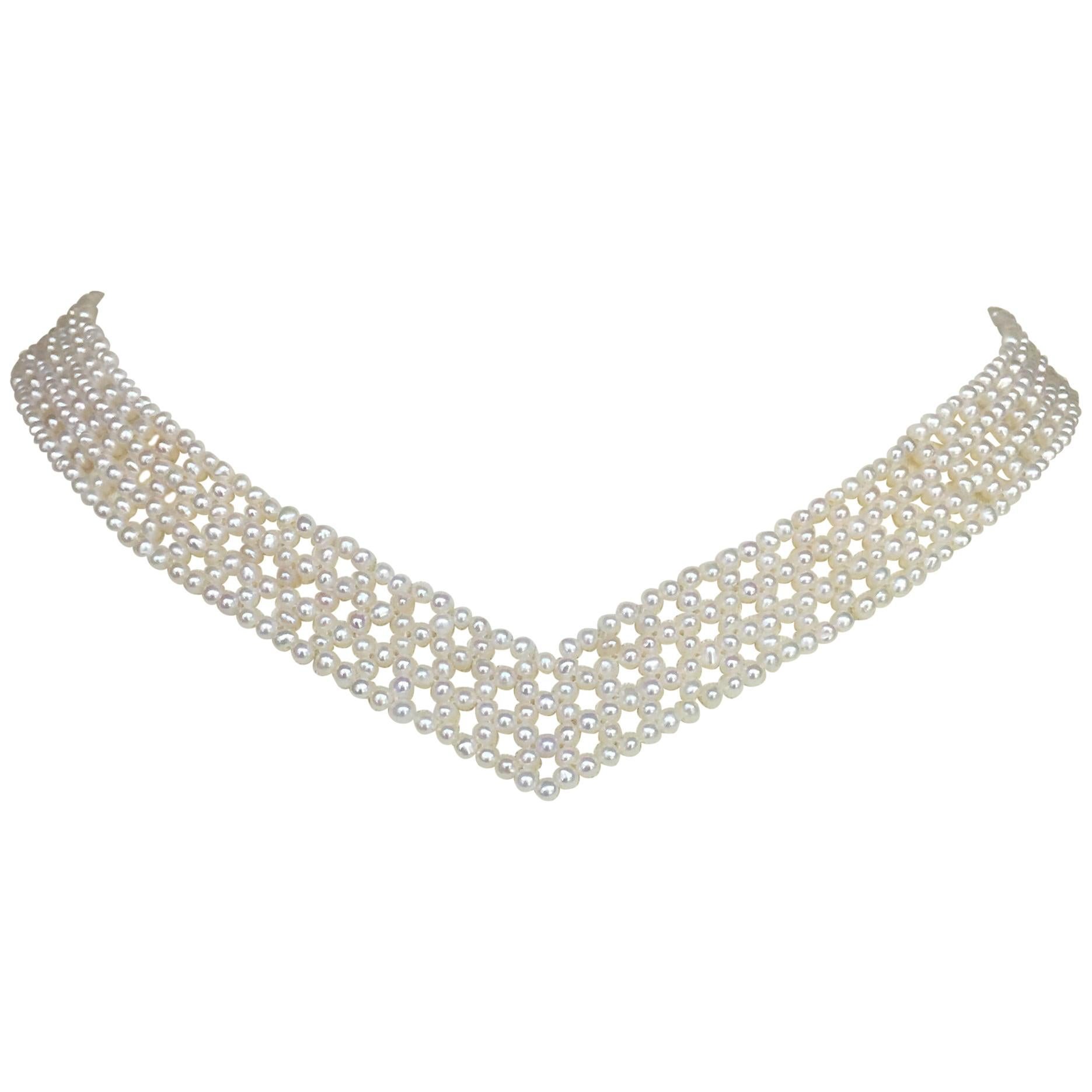 "Marina J Woven White Pearl ""V"" Necklace with 14K Yellow Gold Plated Silver Clasp"