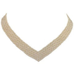 "Marina J. Woven Pearl ""V"" Shaped Necklace with English Antique Paste Clasp"