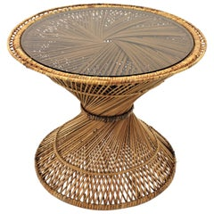 Woven Wicker and Rattan Emmanuelle Peacock Coffee Table, Spain, 1960s