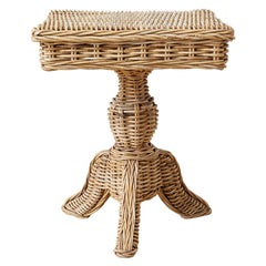 Woven Wicker and Rattan Pedestal Center Table