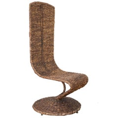Woven Wicker Banana Leaf S Chair by Marzio Cecchi, 1970s