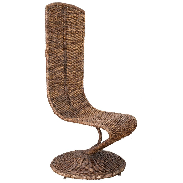Woven Wicker Banana Leaf S Chair By Marzio C 1970s