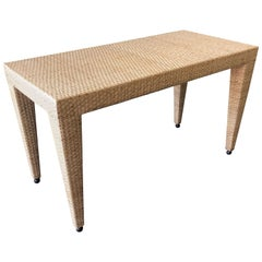 Woven Wicker / Rattan Console Table by Milling Road for Baker