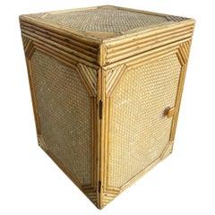 Woven Wicker Stick Rattan Box Side Table Cabinet