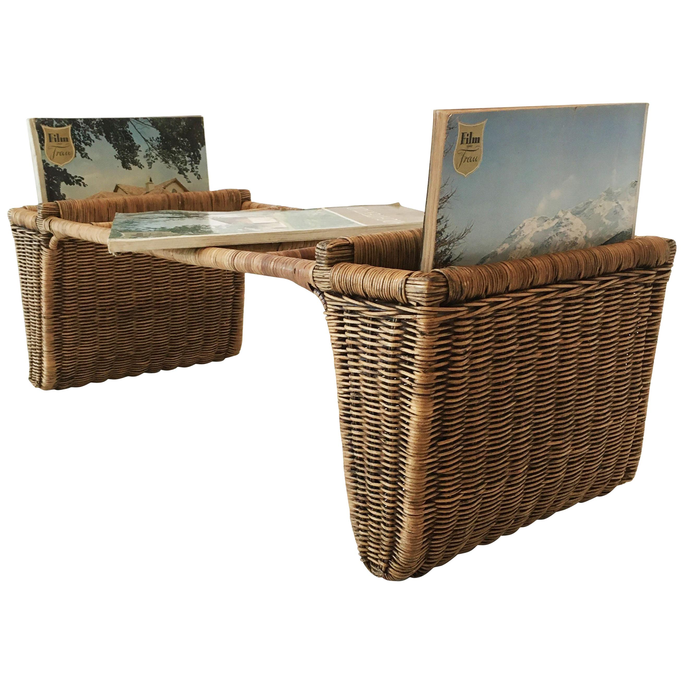 Woven Wicker Table Magazine Rack, Austria, circa 1950