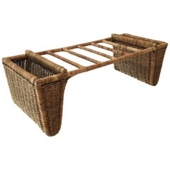 Woven Wicker Small Table Magazine Rack, Austria circa 1950