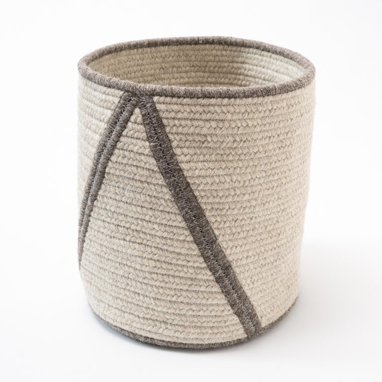 Contemporary Woven Wool Basket in Black and White, Custom Crafted in the USA, Point Design For Sale