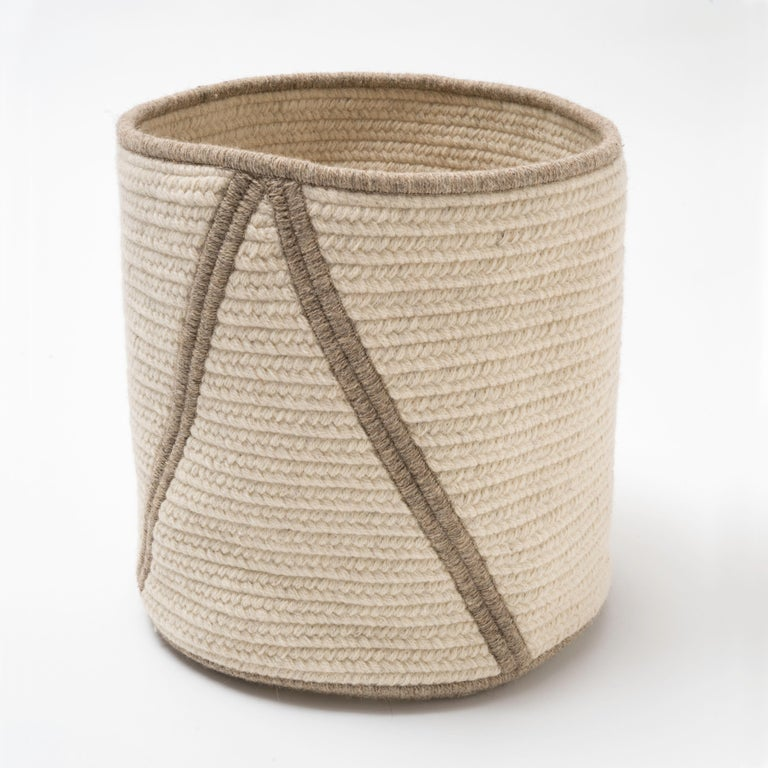 Woven Wool Basket in Black and White, Custom Crafted in the USA, Point Design For Sale 1