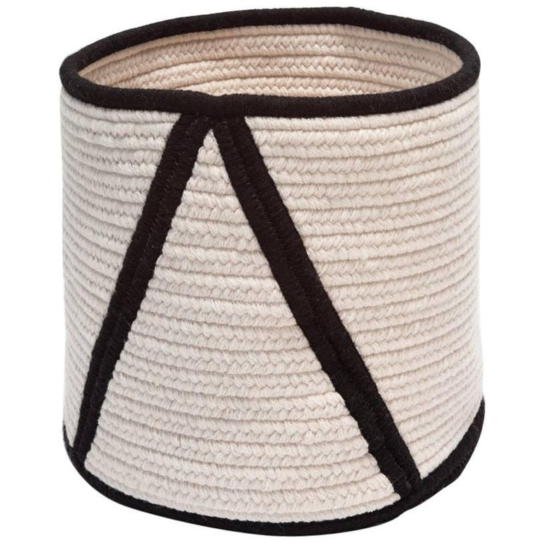 Woven Wool Basket in Black and White, Custom Crafted in the USA, Point Design For Sale