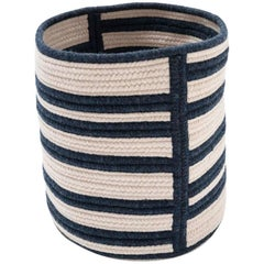 Woven Wool Basket in Navy and White, Custom Crafted in the USA, Raised Line