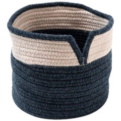 Woven Wool Basket in Navy and White,  Custom Crafted in the USA, V Band Design