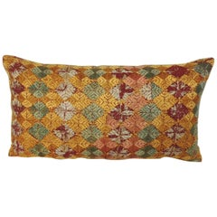 "Woven Yellow and Green ""Phulkari"" Artisanal Decorative Bolster Pillow"