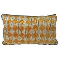 "Woven Yellow and Green ""Phulkari"" Artisanal Decorative Lumbar Pillow"