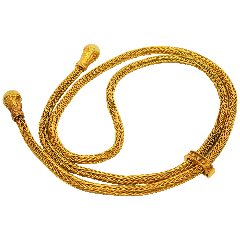 Woven 18 Karat Yellow Gold Lariat Necklace