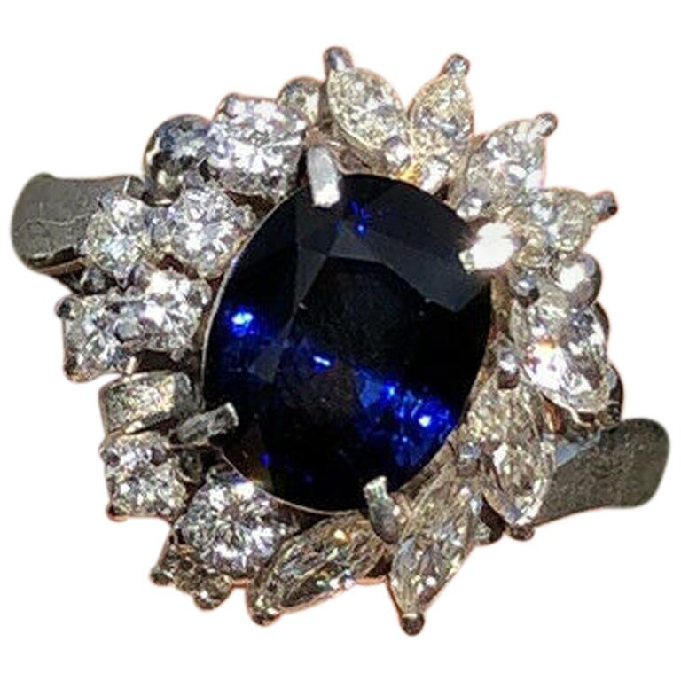 Wow Gem Platinum Natural Sapphire and Diamond Ring 3.25 Carat 6.8g For Sale