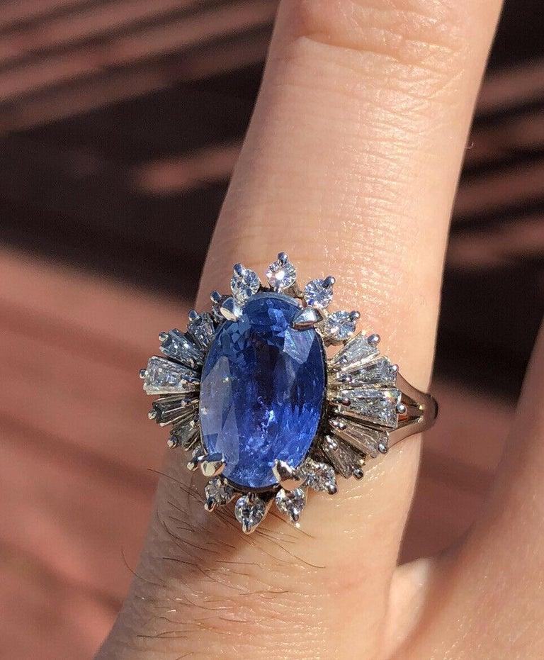 Wow GIA Burma No Heat Platinum Natural Sapphire & Diamond Ring 5.17ctw 8.1g     Beautiful sapphire & diamond ring   Very elegant for everyday wear !!   Approx 0.84 ctw of H SI diamonds   sapphire size approx ct 4.33    100% NATURAL GIA   Size