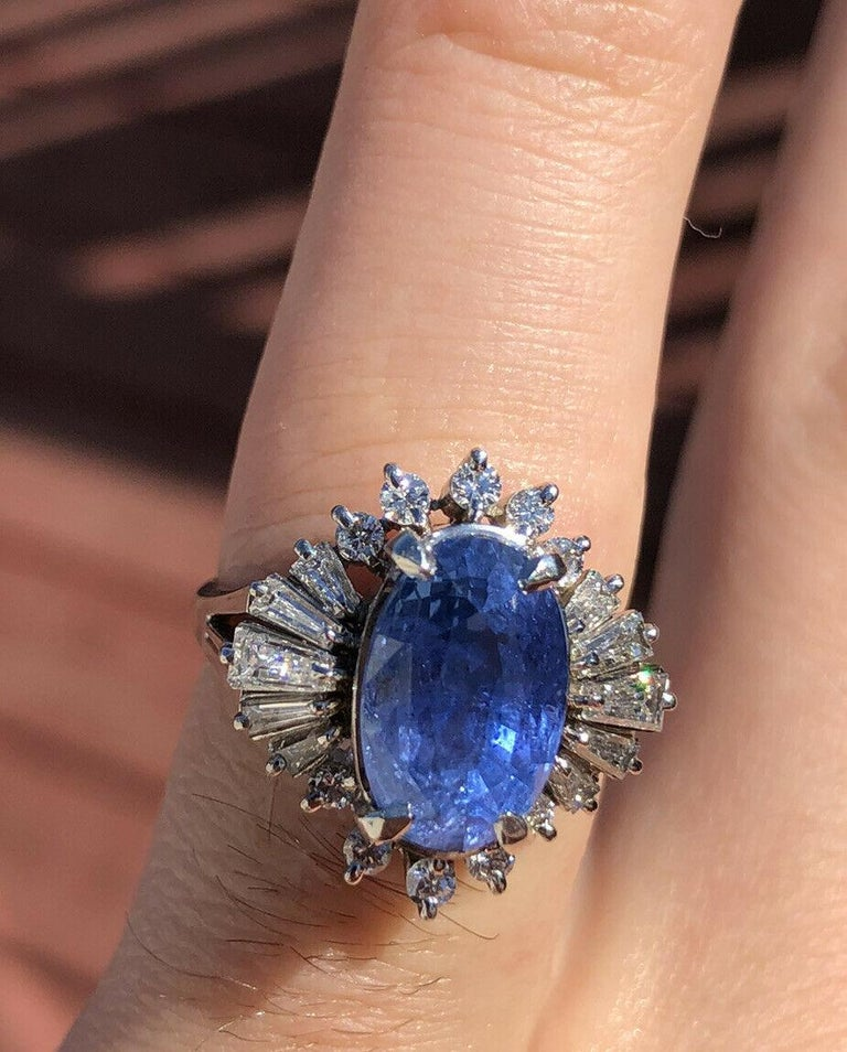 Oval Cut  GIA Burma No Heat Platinum Natural Sapphire and Diamond Ring 5.17 Carat 8.1g For Sale