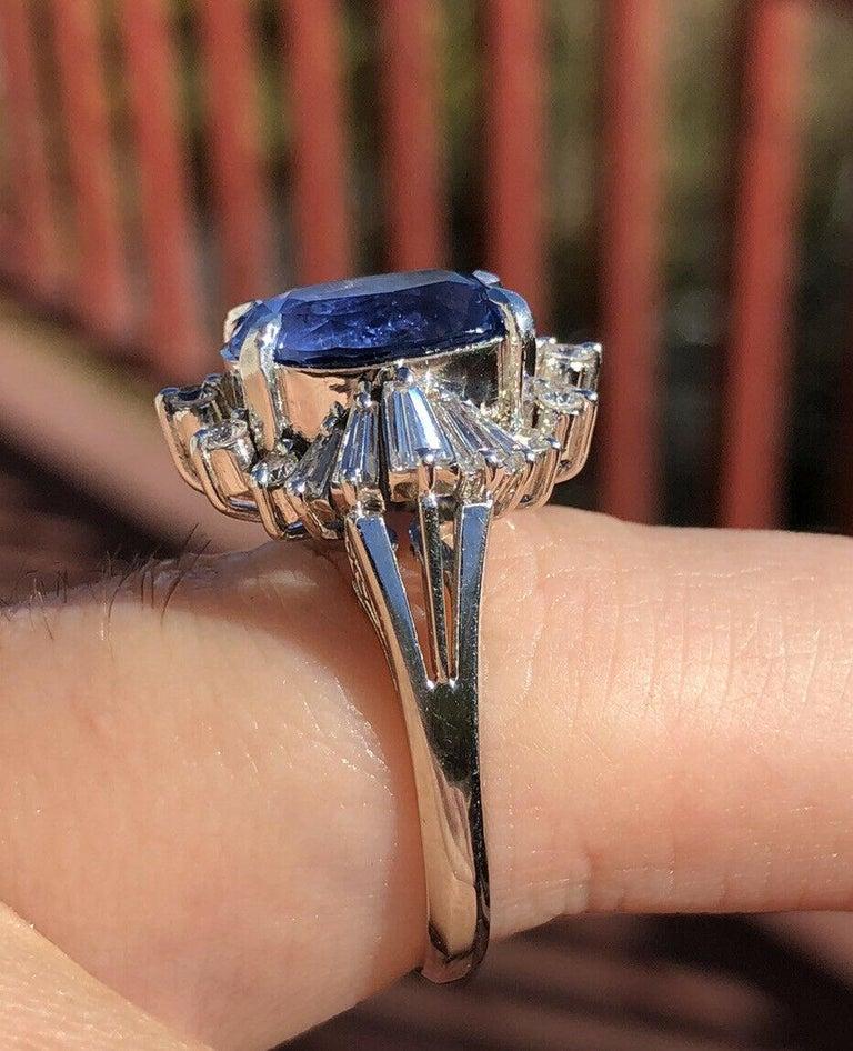 Women's  GIA Burma No Heat Platinum Natural Sapphire and Diamond Ring 5.17 Carat 8.1g For Sale