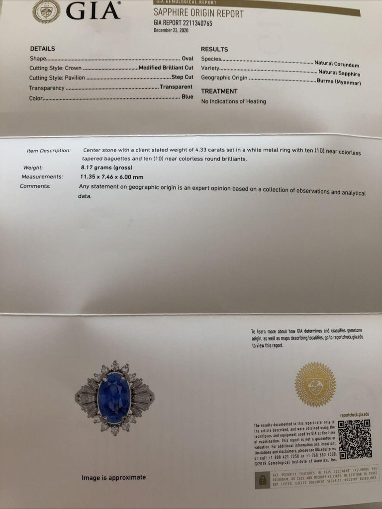 GIA Burma No Heat Platinum Natural Sapphire and Diamond Ring 5.17 Carat 8.1g For Sale 1