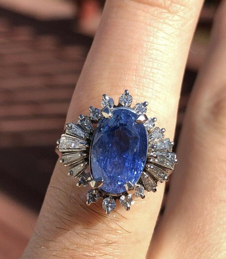 GIA Burma No Heat Platinum Natural Sapphire and Diamond Ring 5.17 Carat 8.1g For Sale 2