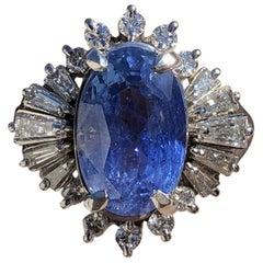 GIA Burma No Heat Platinum Natural Sapphire and Diamond Ring 5.17 Carat 8.1g
