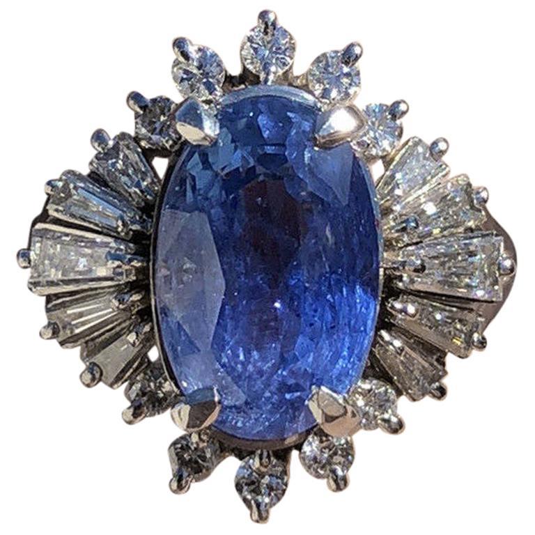 GIA Burma No Heat Platinum Natural Sapphire and Diamond Ring 5.17 Carat 8.1g For Sale