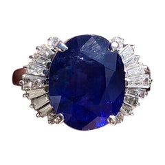 GIA Ceylon Platinum Natural Oval Cut Sapphire and Diamond Ring 7.50 Carat