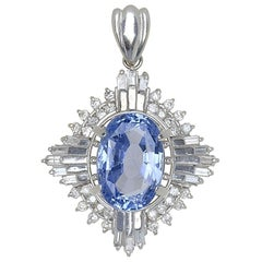 GIA Platinum Natural No Heat Sapphire and Diamond Pendant 7.24 Carat