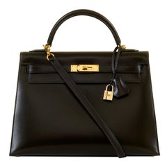 WOW Hermes Kelly Sellier 32 Chocolate Brown Box Calfskin Bag