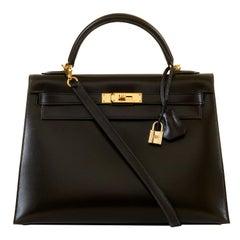WOW Hermes Kelly Sellier 32 Schokoladenbraune Box Kalbsleder Tasche