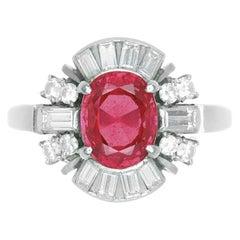 Wow Platinum GIA Burma Natural No Heat Ruby and Diamond Ring 2.29 Carat