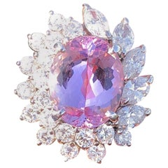WOW Platinum Natural Imperial Pink Topaz and Diamond Ring 7.78 Carat 10.9g