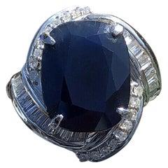 Platinum Natural Sapphire and Diamond Ring 10.47 Carat 15.7g