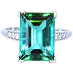 Wow Tiffany & Co. Art Deco Irid Platinum Tourmaline and Diamond Ring 4.56 Carat