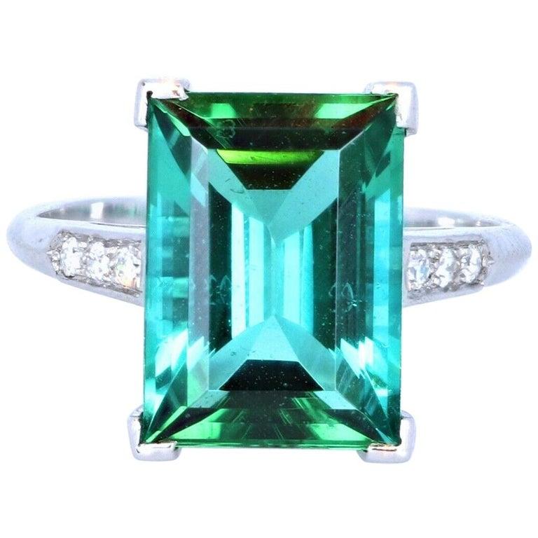 Wow Tiffany & Co. Art Deco Irid Platinum Tourmaline and Diamond Ring 4.56 Carat For Sale
