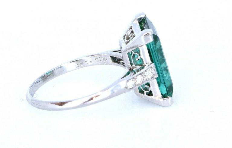 Emerald Cut Wow Tiffany & Co. Art Deco Irid Platinum Tourmaline and Diamond Ring 4.56 Carat For Sale
