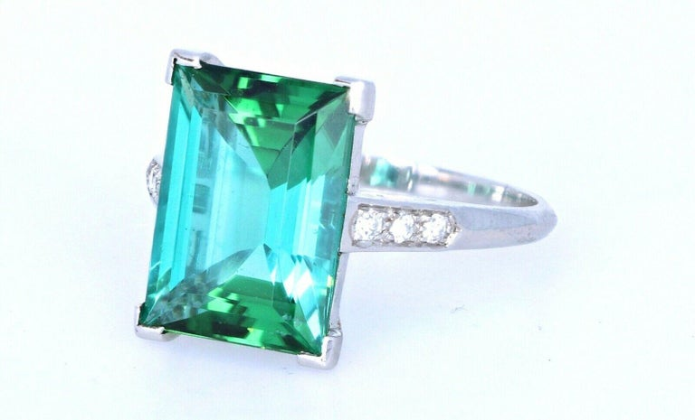 Women's Wow Tiffany & Co. Art Deco Irid Platinum Tourmaline and Diamond Ring 4.56 Carat For Sale