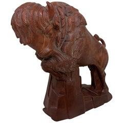 WPA Art Deco Terracotta Buffalo Sculpture by Anthony Vozech, Circa 1930s