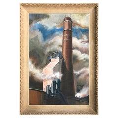 WPA Era Painting of a Power Plant at the University of Cincinnati D Behm