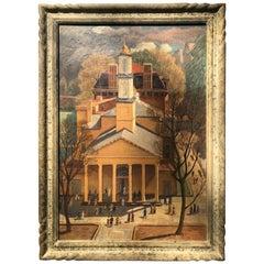 WPA Scene by Carl Nyquist, Oil on Canvas St Johns Church Washington Dc