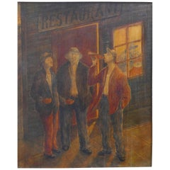 WPA Style Bar Scene Oil Painting on Panel, Signed and Dated 1935
