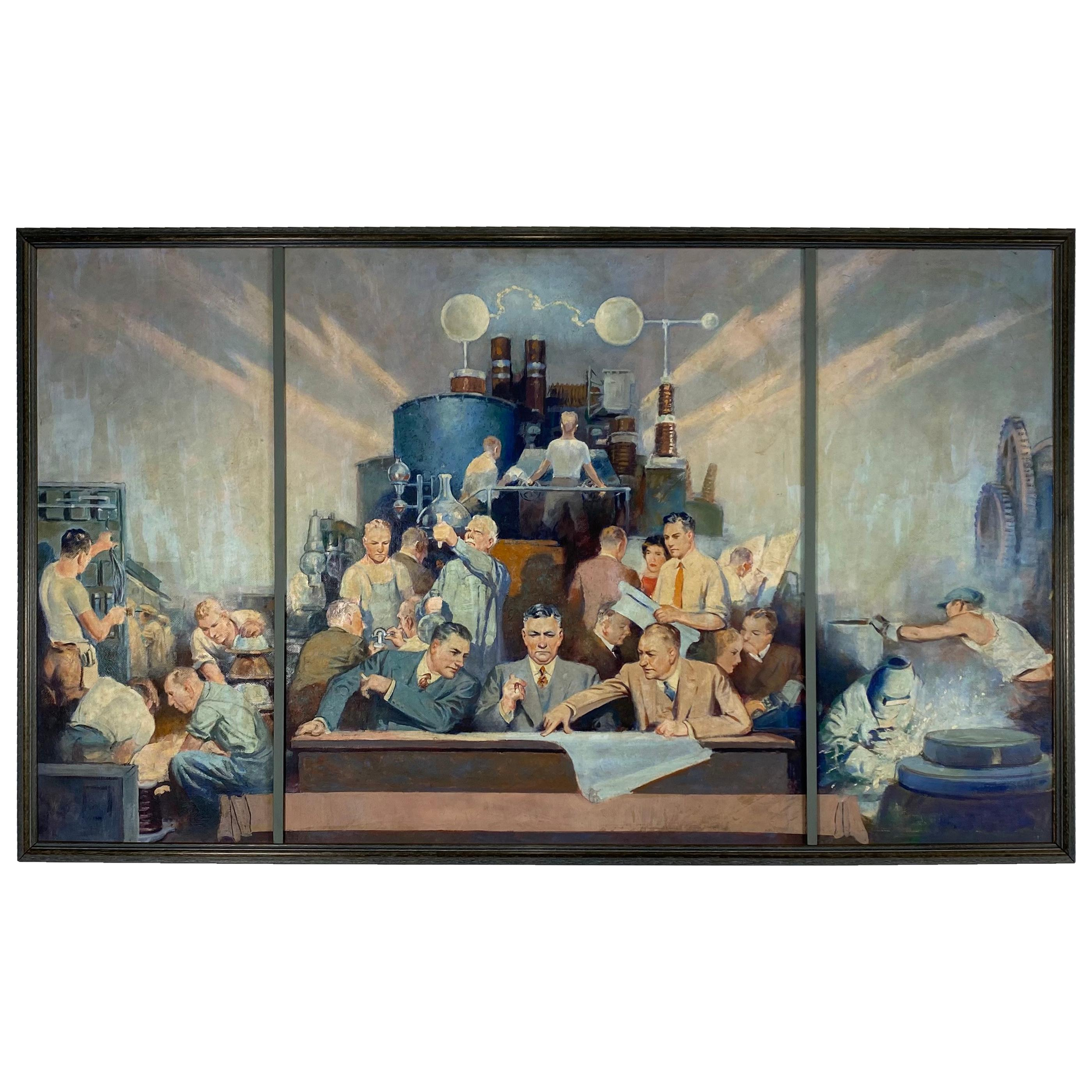 W.P.A. Style Painting, Science, Politics Industry 1940s-1950s, Oil on Board