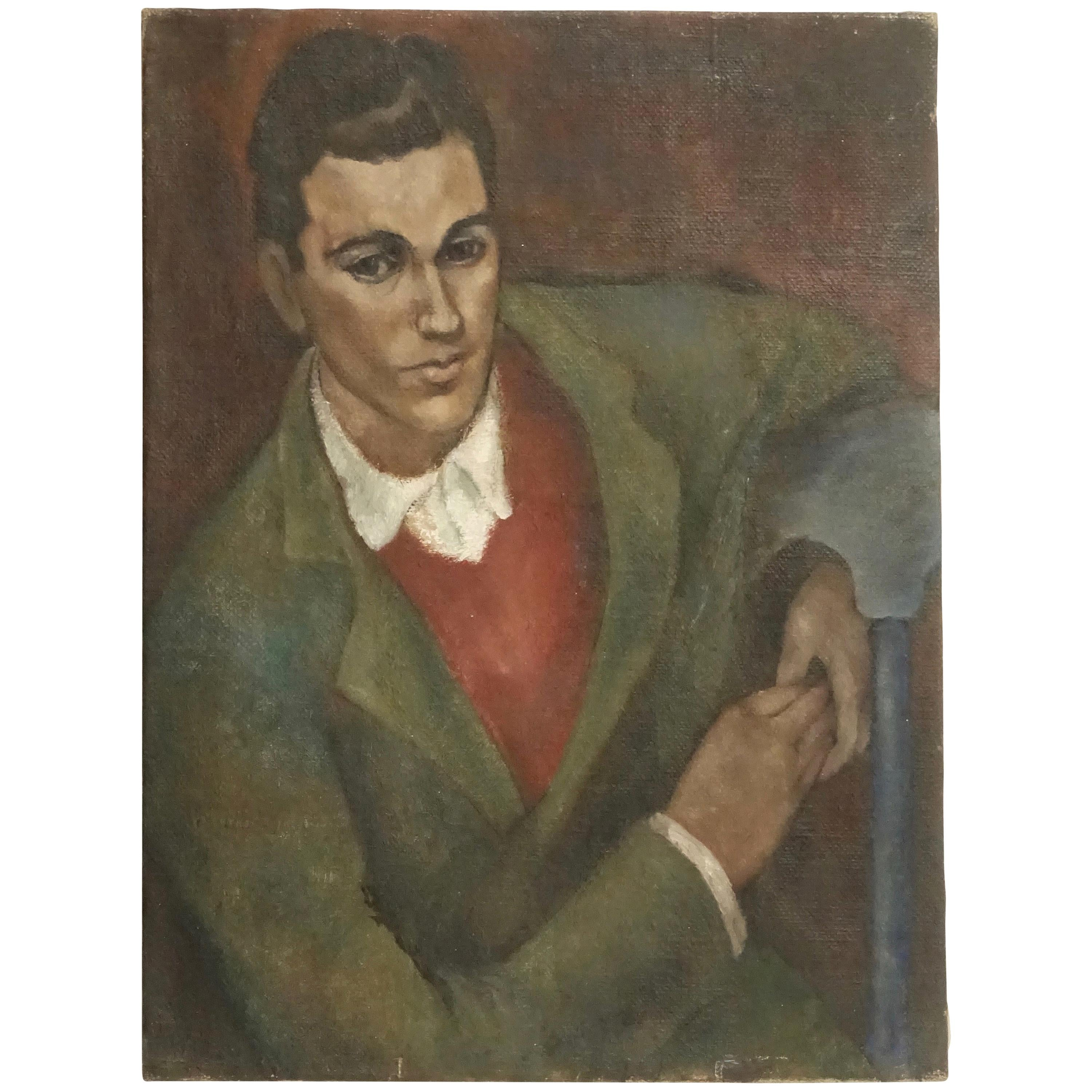 WPA Style Portrait Painting of a Gentleman, American, 1930s-1940s